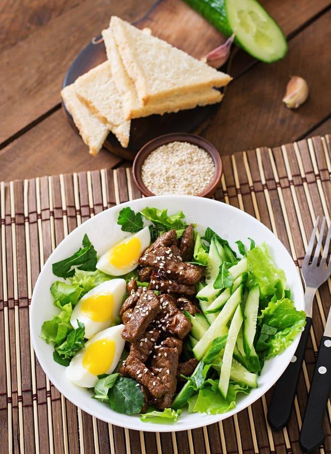 Sallad med kryddigt nötkött, gurkan och ägg royaltyfri fotografi
