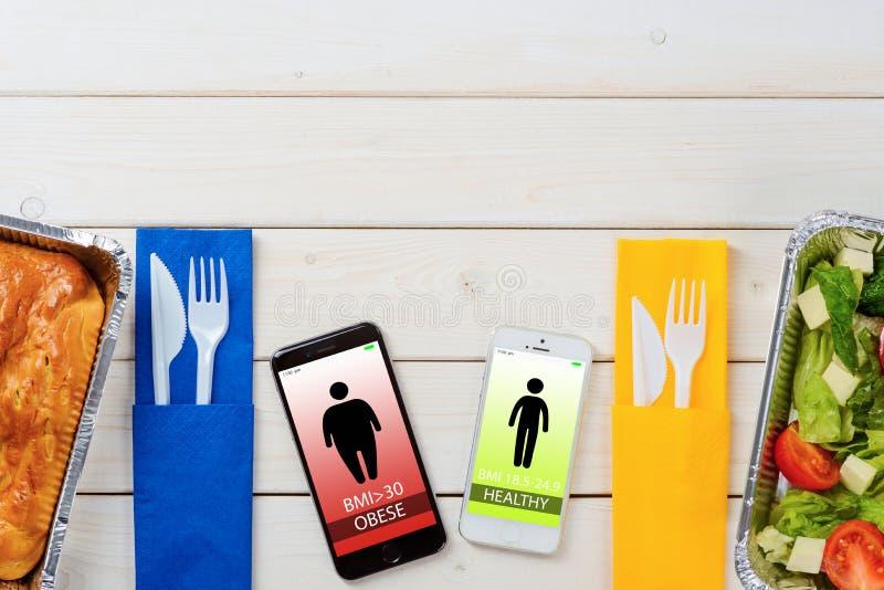 Sallad och BMI-index app royaltyfria foton