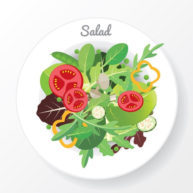 Salladmaträtt stock illustrationer