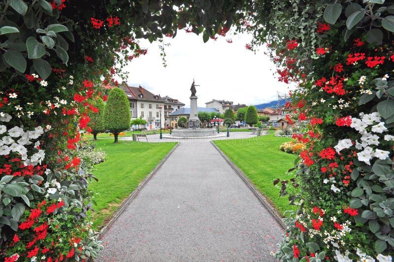 Sallanches-Stadt, Frankreich lizenzfreie stockfotografie