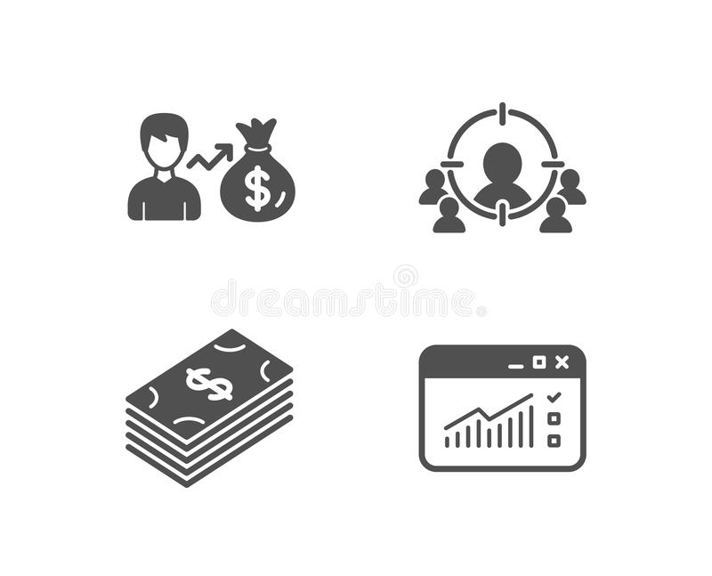 Sallary, Dollar and Business targeting icons. Web traffic sign. vector illustration