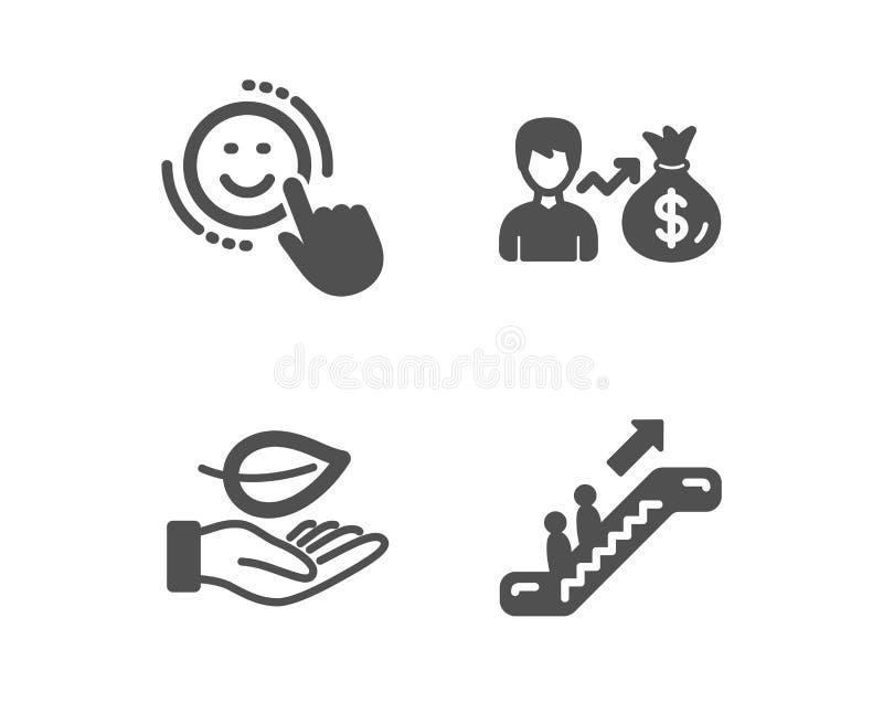 Sallary, liścia i uśmiechu ikony, Eskalatoru znak Osoba przychody, rośliny opieka, Pozytywna informacje zwrotne winda wektor royalty ilustracja