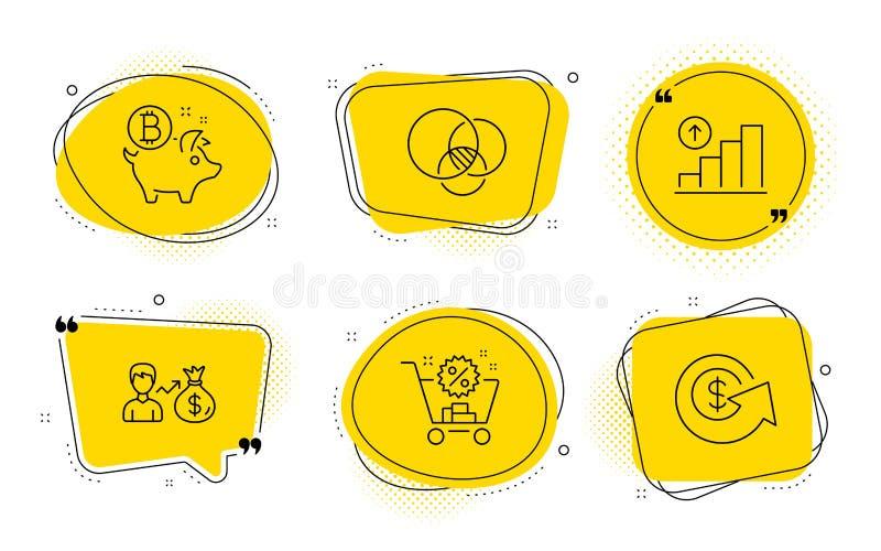 Sallary, wykres mapa i Euler diagram ikony ustawiać, Bitcoin ukuwa nazwę, wózek na zakupy i Dolarowej wymiany znaki wektor royalty ilustracja