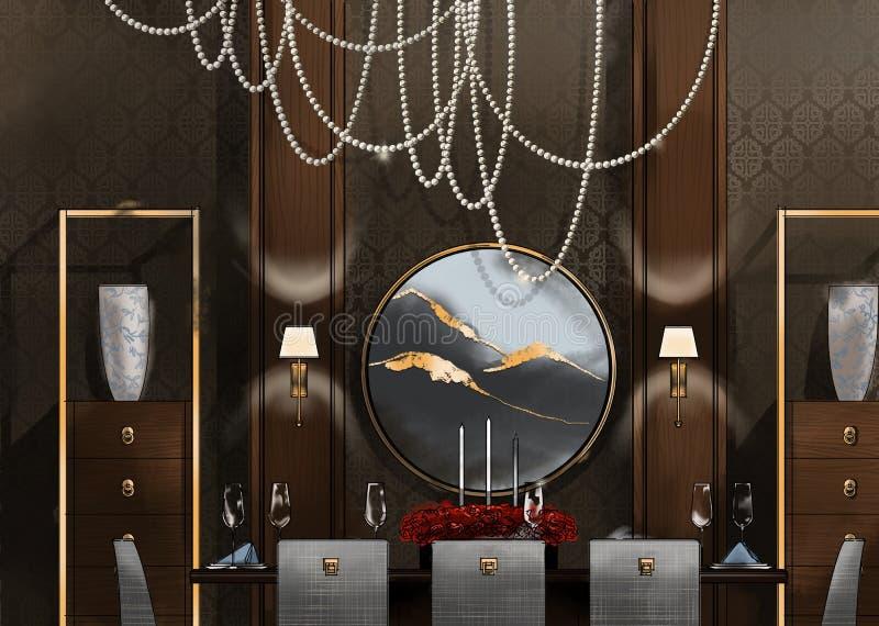 Salle à manger avec le lustre, peinture d'illustration image libre de droits