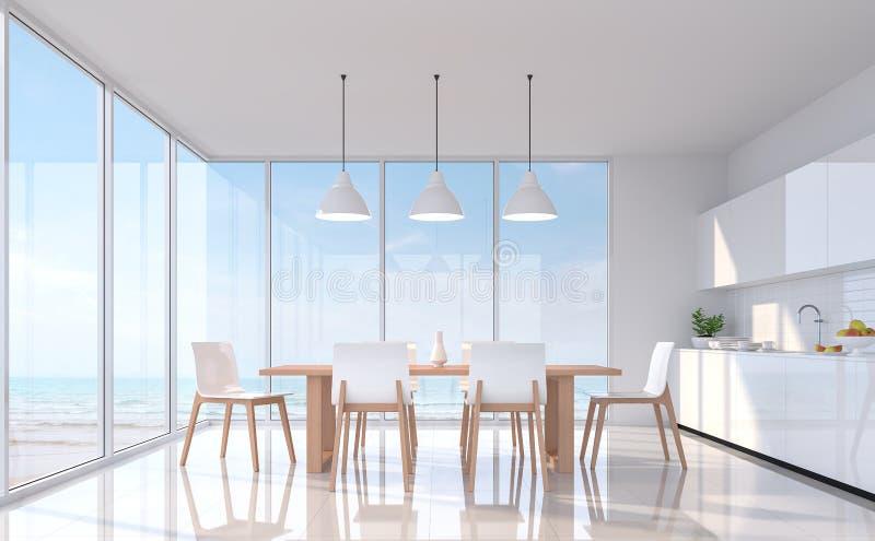 Salle à manger blanche moderne avec l'image de rendu de la vue 3d de mer Il y a grande fenêtre donne sur à la vue de mer illustration libre de droits
