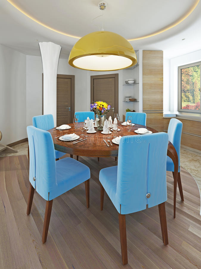 Salle à manger moderne avec la cuisine dans un kitsch à la mode de style illustration libre de droits