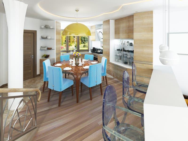 Salle à manger moderne avec la cuisine dans un kitsch à la mode de style illustration stock