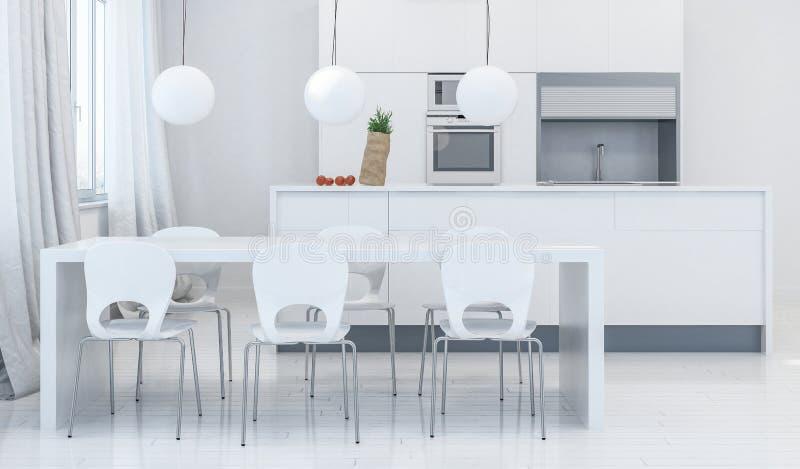 Salle à manger moderne avec la cuisine à l'arrière-plan illustration de vecteur