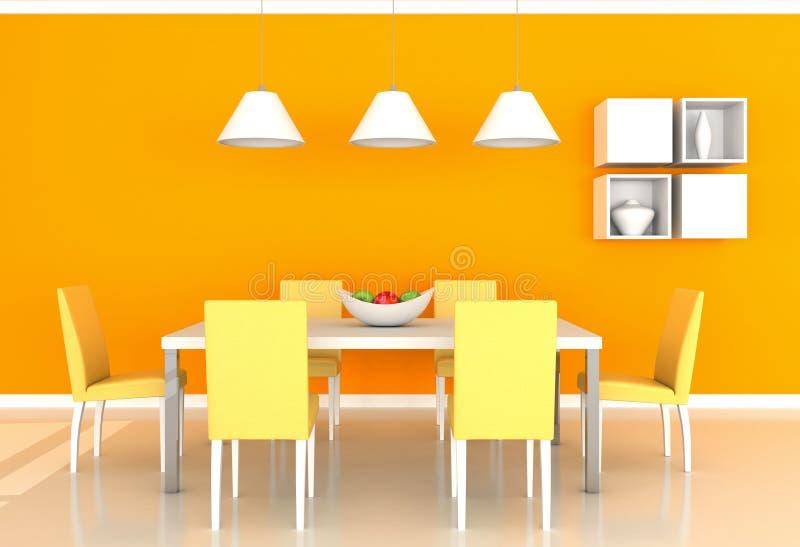 Salle manger moderne orange illustration stock for Salle a manger orange