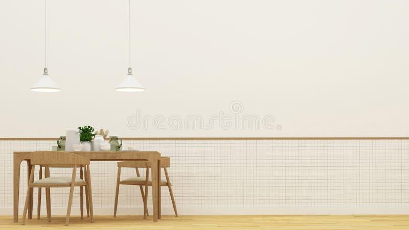 Salle à manger ou restaurant - rendu 3D illustration stock