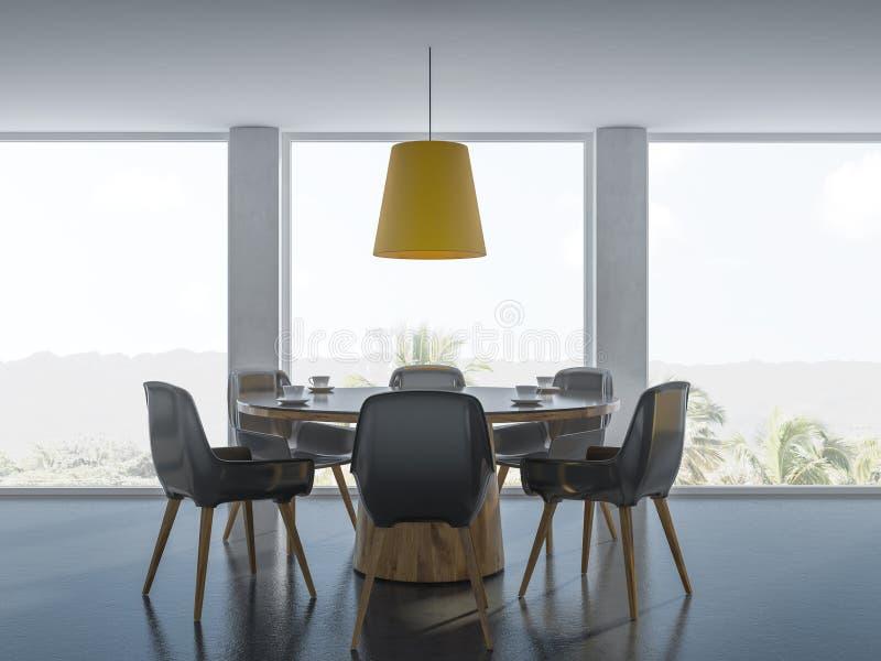 Salle à manger panoramique noire et en bois confortable illustration de vecteur