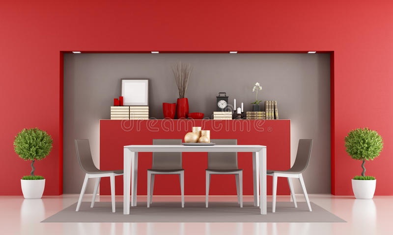 Salle  Manger Rouge Illustration Stock Illustration Du