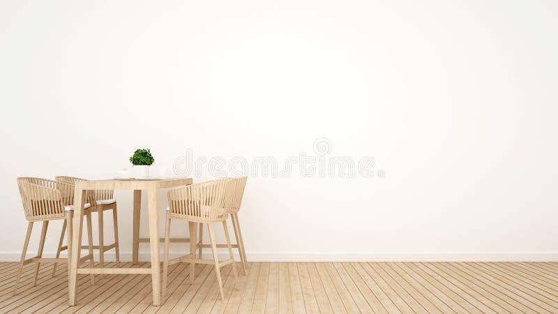 Salle à manger sur la conception en bois - rendu 3D illustration libre de droits