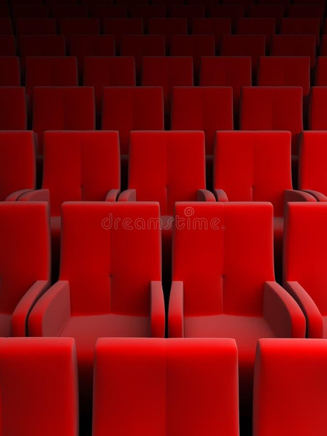 Salle avec le siège rouge illustration stock