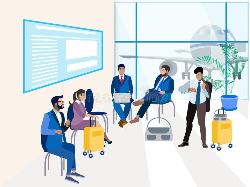 Salle d'attente à l'aéroport Dans le style minimaliste Vecteur isométrique plat illustration libre de droits