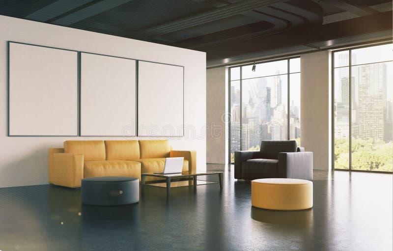 Salle d'attente de bureau : le sofa, galerie, dégrossissent modifié la tonalité illustration stock