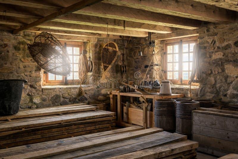 Salle d'entreposage de village de pêche photo libre de droits