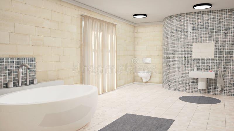 Salle de bains avec des rideaux photographie stock