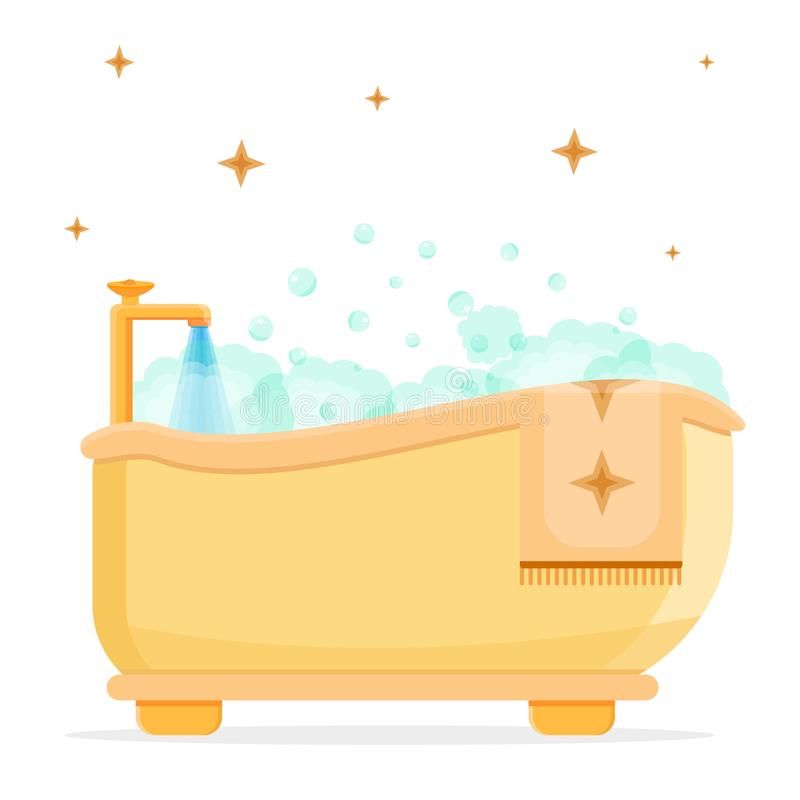 Salle de bains avec la mousse illustration de vecteur