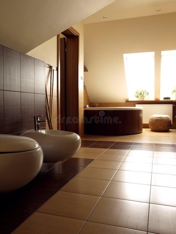Salle de bains avec la toilette et le bidet images stock