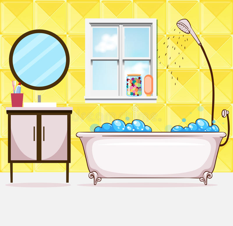 salle de bains avec le baquet et la douche illustration de vecteur illustration du baignoire. Black Bedroom Furniture Sets. Home Design Ideas