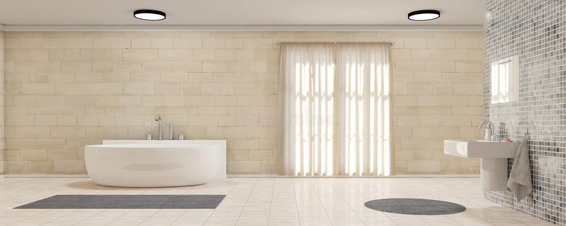 Salle de bains avec le panorama de rideaux photographie stock libre de droits