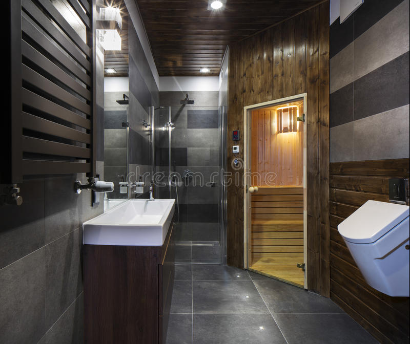 salle de bains avec le sauna photo stock image 40015370. Black Bedroom Furniture Sets. Home Design Ideas