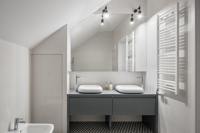 Salle de bains avec les deux bassins élégants photo libre de droits