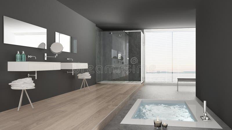 Salle de bains blanche et grise minimaliste avec la baignoire et panoramique images stock