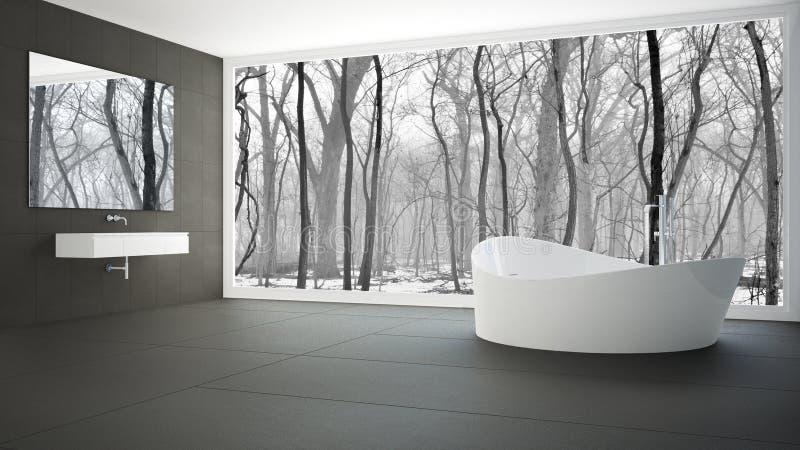 Salle de bains blanche et grise minimaliste avec la grande fenêtre panoramique, WI images libres de droits