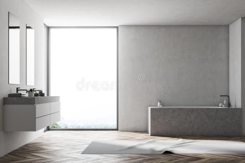 Salle de bains blanche intérieure, baquet gris illustration de vecteur