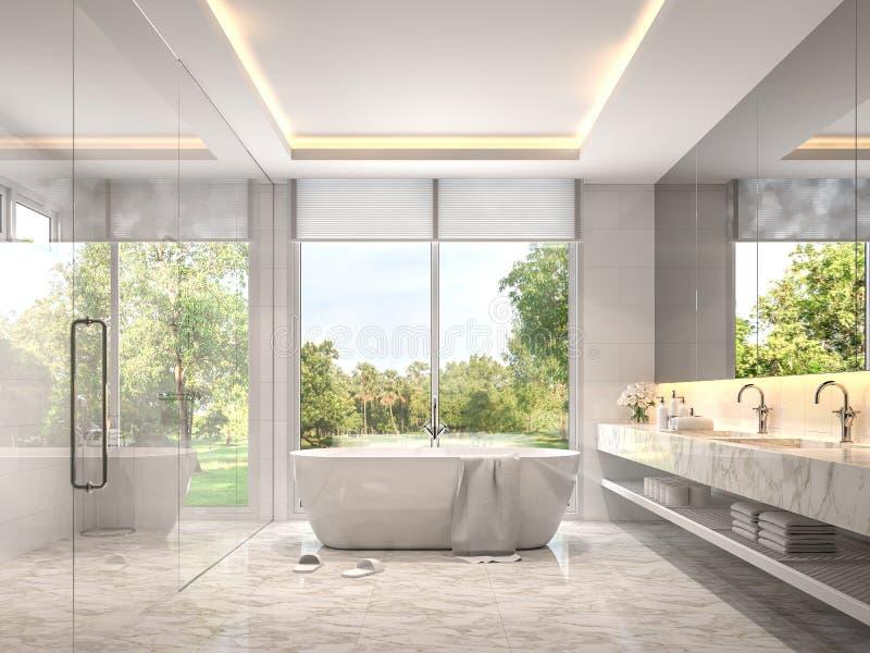 Salle de bains blanche de luxe moderne avec la vue 3d de jardin rendre illustration de vecteur