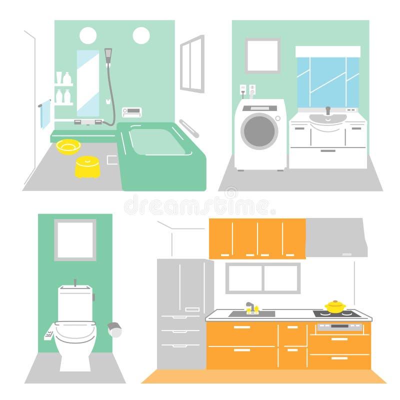 Salle de bains, blanchisserie, cuisine illustration libre de droits