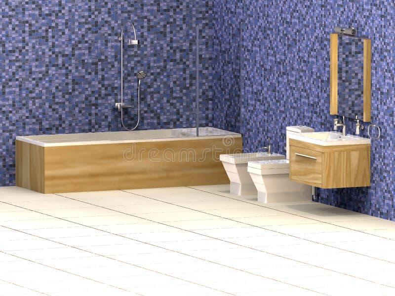 Salle de bains bleue illustration libre de droits