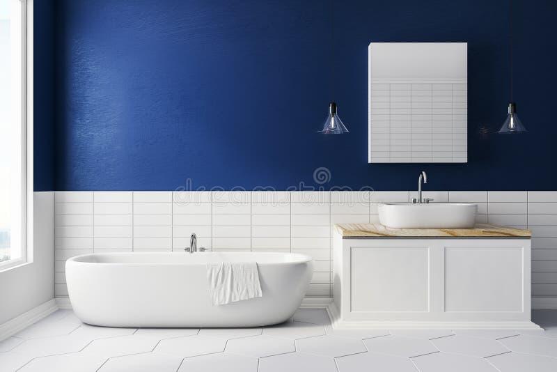 Salle de bains bleue avec l'espace de copie illustration libre de droits