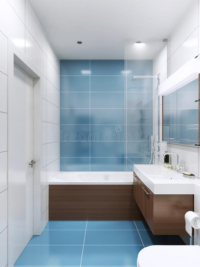 salle de bains bleue et blanche image stock image du bassin lumineux 64527353. Black Bedroom Furniture Sets. Home Design Ideas