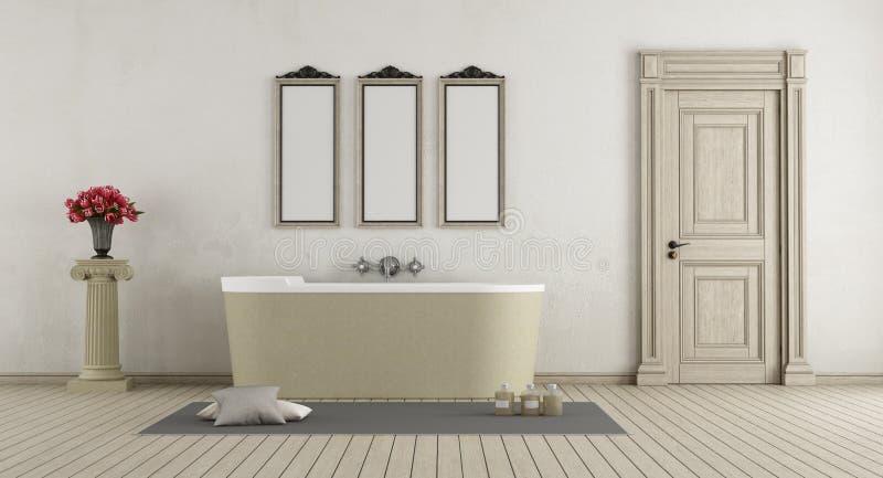 Salle de bains classique avec la baignoire en pierre illustration libre de droits