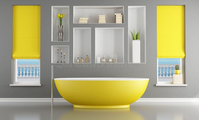 Salle de bains contemporaine avec la baignoire jaune illustration stock