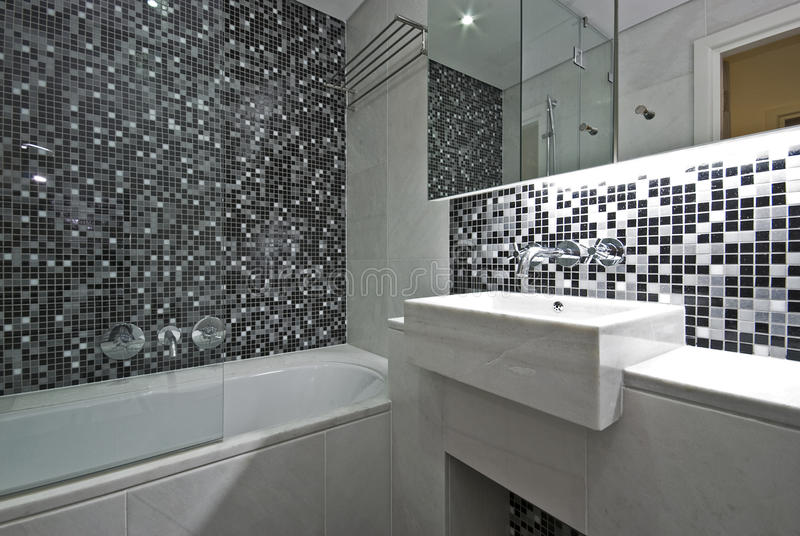 Salle De Bains Contemporaine D\'en-suite En Noir Et Blanc Image ...