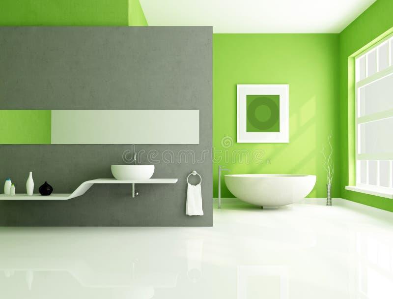 Salle De Bains Contemporaine Verte Et Grise Illustration Stock - Salle de bain contemporaine grise