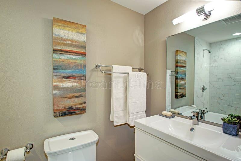 Salle de bains d'Ensuite avec la vanité de salle de bains et une toilette photos libres de droits