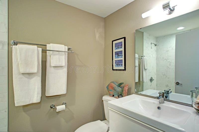 Salle de bains d'Ensuite avec la vanité de salle de bains et une toilette photo stock