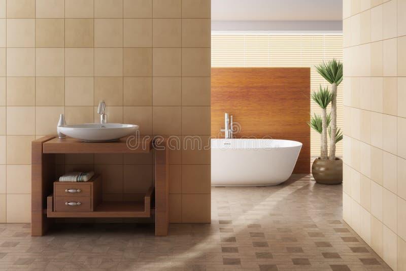 Salle de bains de Brown comprenant le bain et l'évier illustration stock