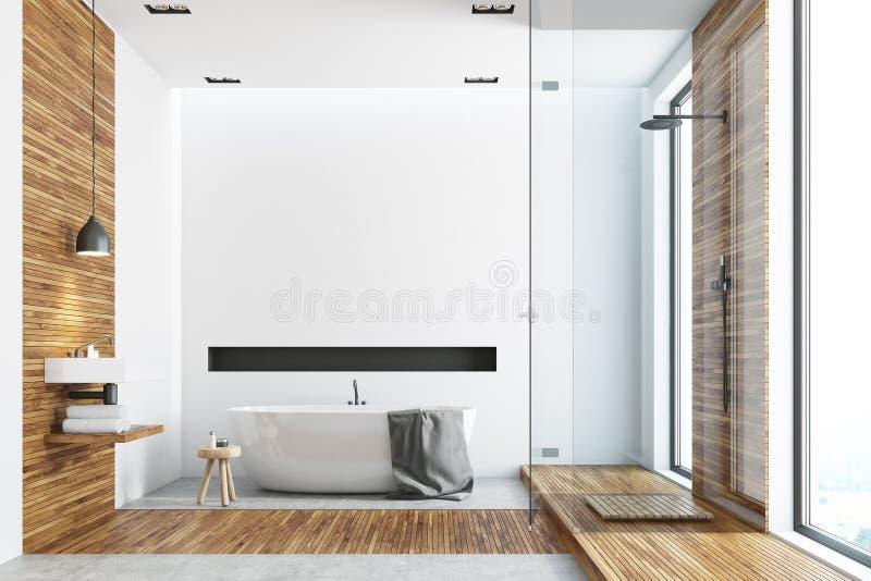 Salle de bains en bois et blanche, baquet rond illustration de vecteur