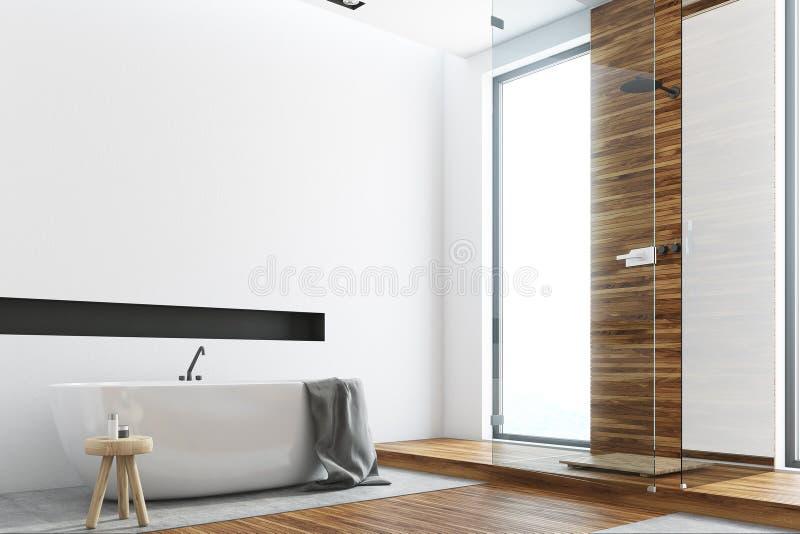 Salle de bains en bois et blanche, côté rond de baquet illustration stock