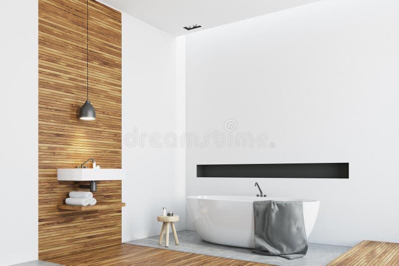Salle de bains en bois et blanche, coin rond de baquet illustration de vecteur