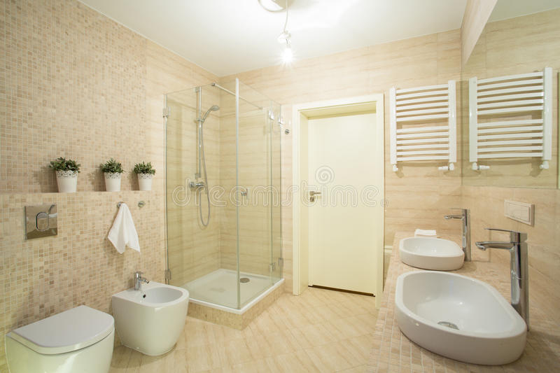 Salle de bains lumineuse avec la douche photo stock