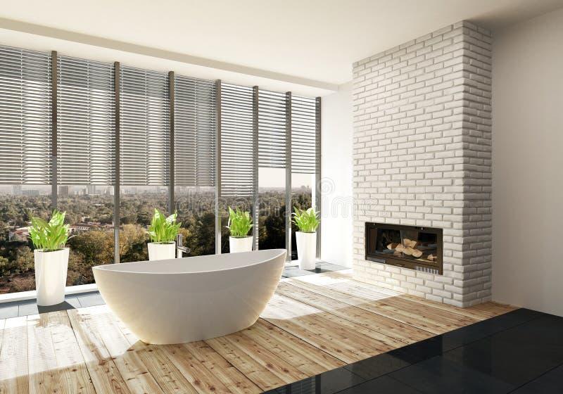 Salle de bains de luxe avec l'insertion et le soleil du feu illustration stock