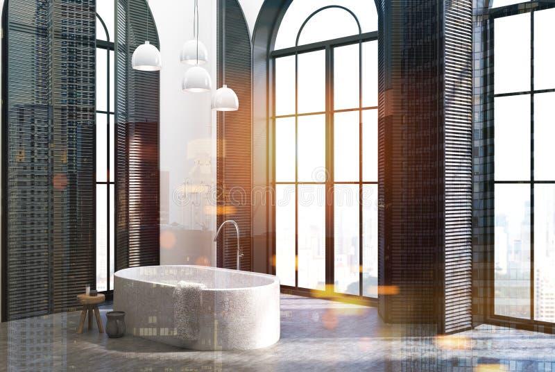 Salle de bains de luxe, coin, fenêtres noires modifiées la tonalité illustration stock