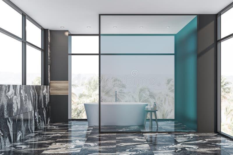 Salle de bains de marbre grise intérieure avec le baquet illustration stock